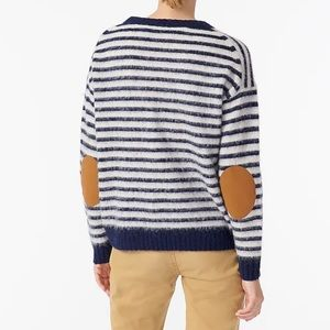 J. Crew Elbow-Patch Crewneck Sweater In Striped Lambswool